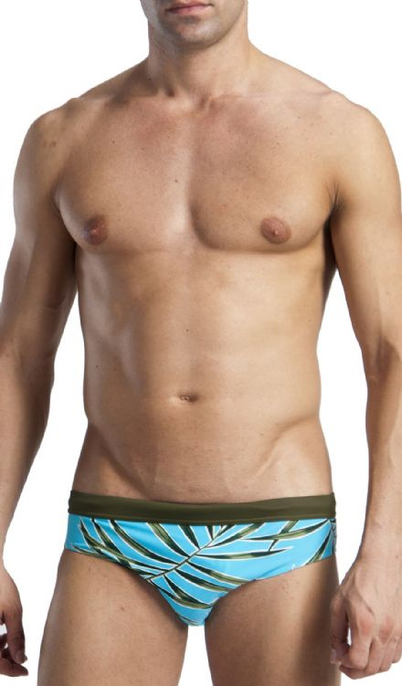 Men's Swimwear Low Rise Brief Trunks Blue Leaf pattern 1121s2